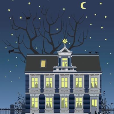 """Weihnachtskarte """"Blaues Haus"""""""