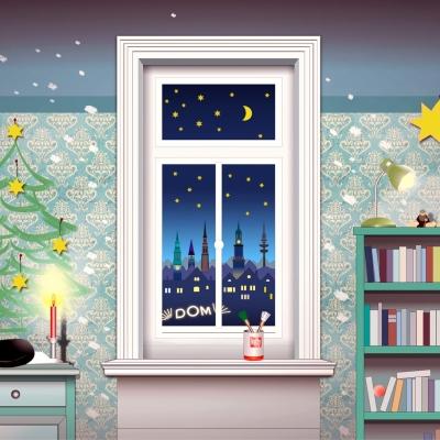 """Weihnachtskarte """"Blick auf die Stadt"""""""