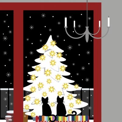 """Weihnachtskarte """"Katzen am Fenster"""""""