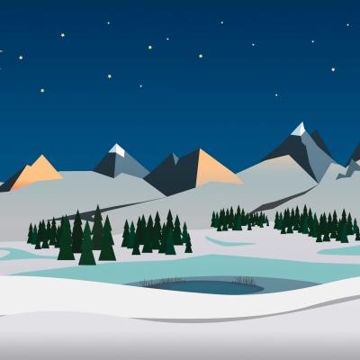 """Weihnachtskarte """"Landschaft mit See"""""""