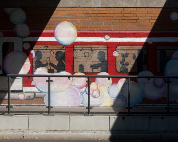 Auschnitt Wandbild Östliches Widerlager, S-Bahn Othmarschen
