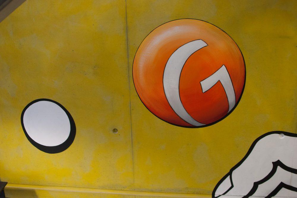 Detailansicht orangene Kugel